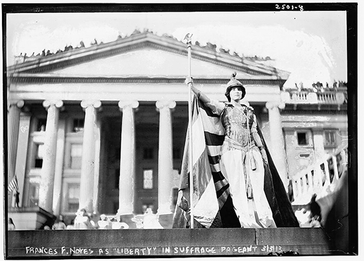Hedwig Reicher as Columbia in Suffrage Parade (title on slide is incorrect) (Source: Library of Congress/Flickr)