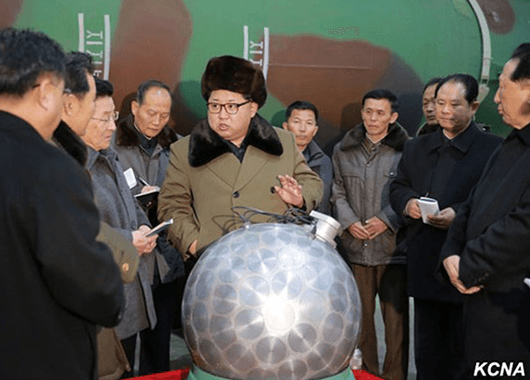 "Kim Jong-Un and So-Called ""Nuclear Bomb"" (Source: KCNA/Wikipedia)"