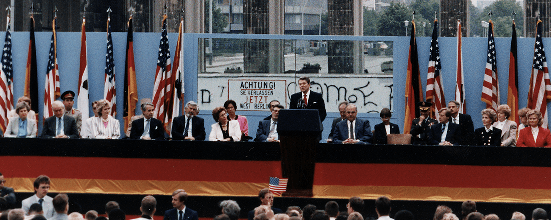 Ronald Reagan at the Berlin Wall (Source: U.S. National Archives/Wikimedia Commons)