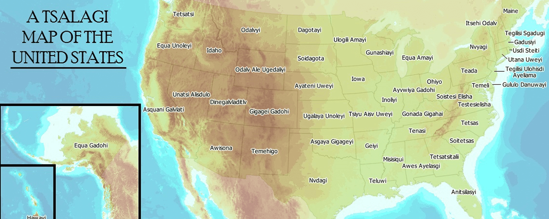 A Cherokee (Tsalagi) Map of the United States (Source: Decolonial Atlas)