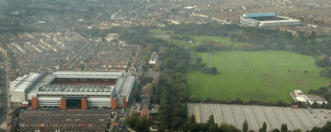 Anfield and Goodison Park, separated by Stanley Park (Source: Liverpool Echo)