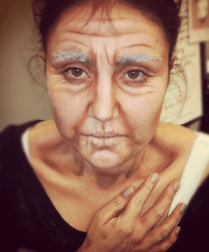 Megan in Old Person Makeup (Source: Bryont.net)