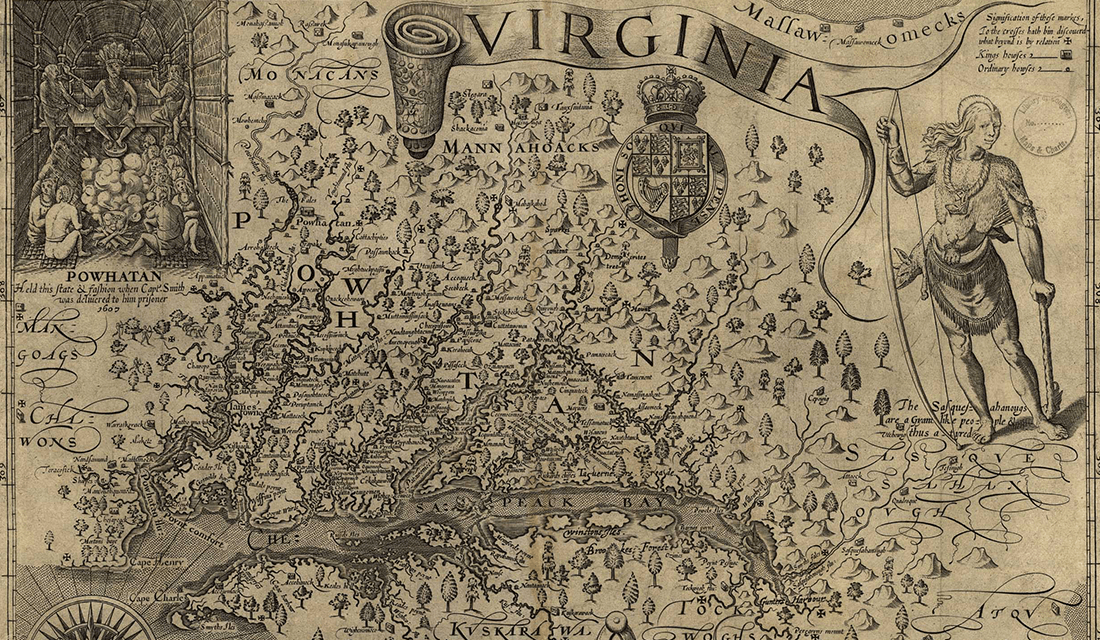 John Smith's map of the Chesapeake Bay and its tributaries (1624 copy), with details of numerous villages within the Powhatan Confederacy (Source: Wikipedia)