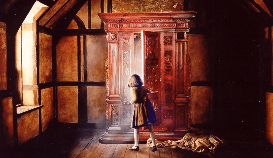 Lucy Pevensie Entering the Wardrobe into Narnia (Source: Wiki Narnia)