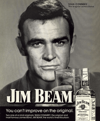 Vintage Sean Connery Jim Beam ad from 1974 (Source: Liquor.com)