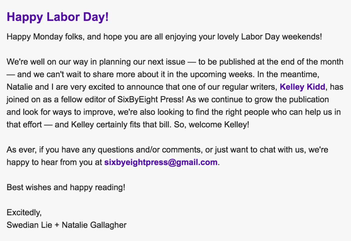 September 2016 Email Announcing Kelley Kidd as Editor