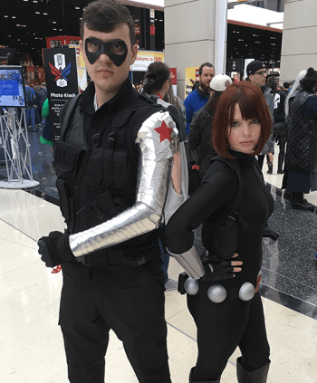 Andrew as Winter Soldier; Lizz as Black Widow (Source: Lizz Dworak)