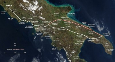 Via Appia route (in white) (Source: Wikimedia Commons)