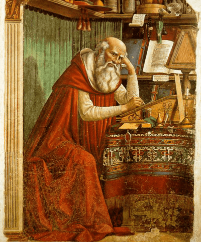 "1480 Fresco titled ""Saint Jerome in his Study"" by Domenico Ghirlandaio (Source: Wikimedia Commons)"