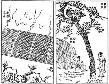 15th-century image detailing the process of getting soot from burning pine wood, to use in the production of ink (Source: Song Yingxing/Wikipedia)