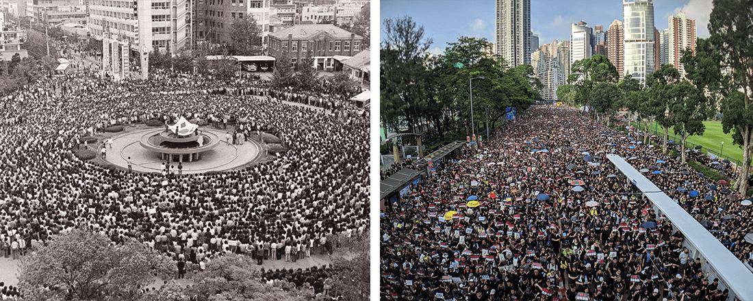 Gwangju Protestors Juxtaposed with HK Protestors (Source: Asia Society // Studio Incendo/Flickr)