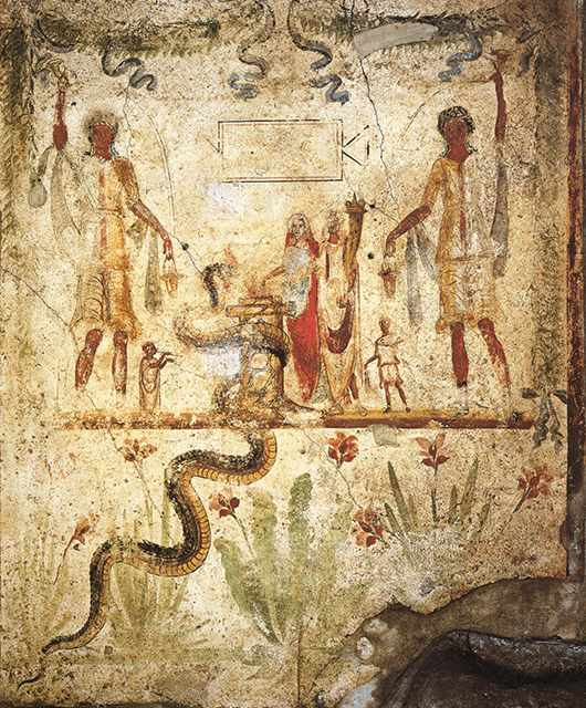 Agathos Daemon as represented by the snake in this fresco in Pompeii (Source: Wikipedia)