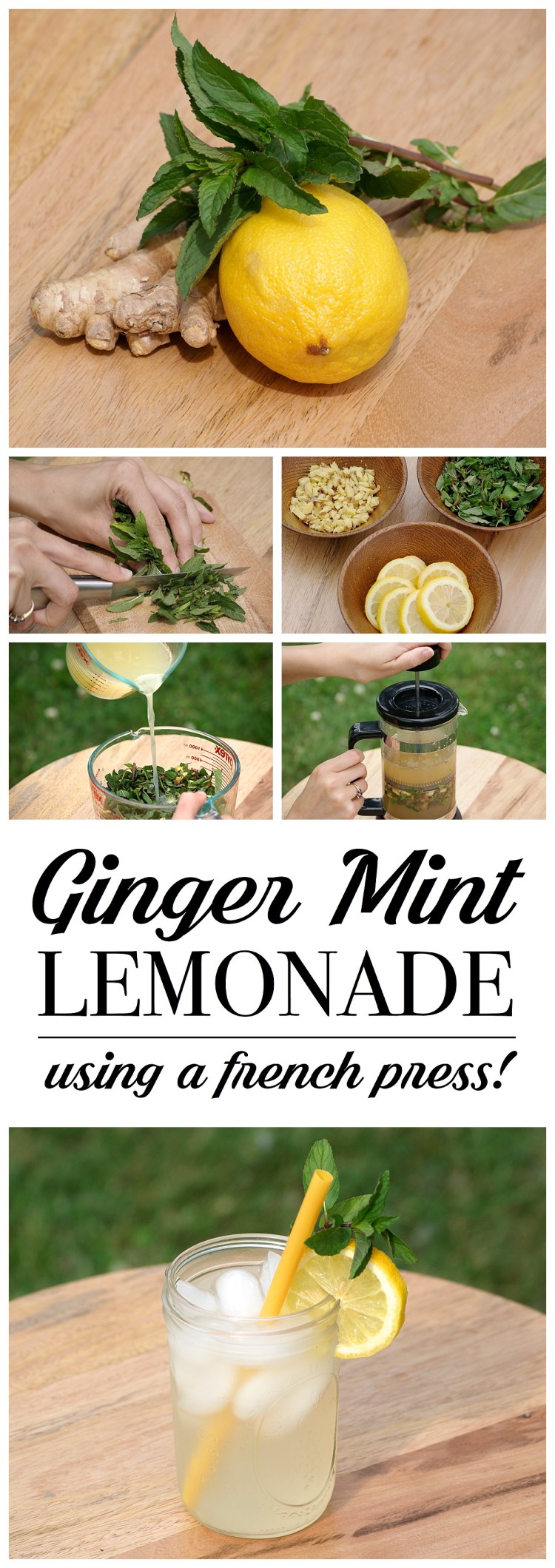 Ginger Mint Lemonade | Detox Drink | Drink Recipe | Summer Drinks | Party Ideas | Cookout | Outdoor BBQ | Refresh with this homemade Ginger Mint Lemonade recipe! The blog shows you the trick of using a french press to get maximum flavor!! | Six Clever Sisters