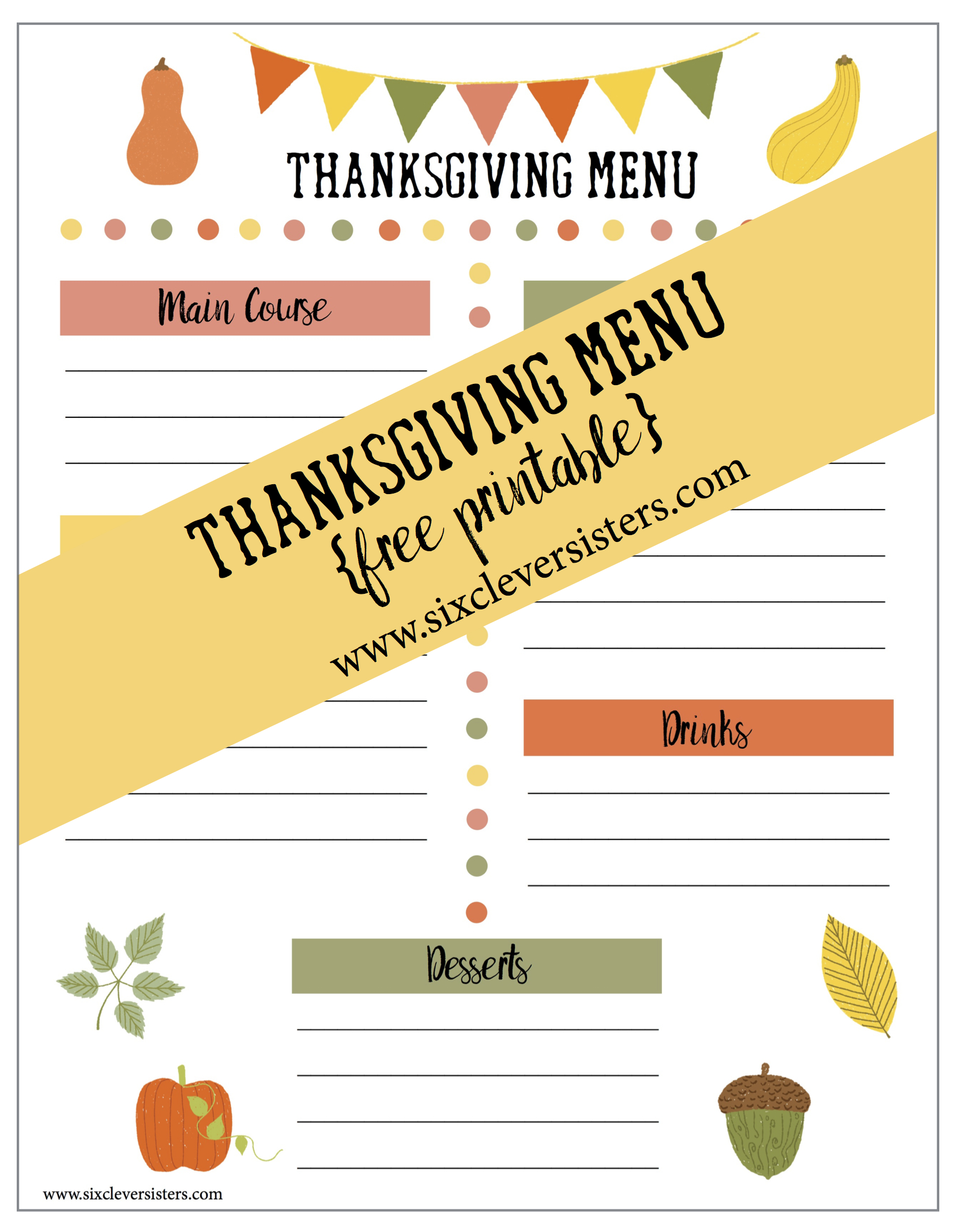 picture about Printable Thanksgiving Menu identified as Printable Thanksgiving Menu and Browsing Record - 6 Smart