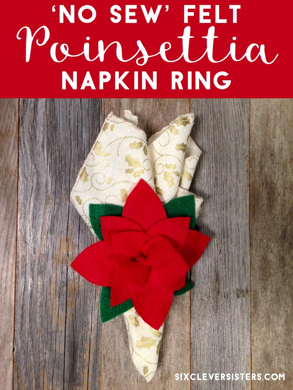 'No Sew' Felt Poinsettia Napkin Ring #diy #Christmas #poinsettia #holiday #holidaydecor #placesetting #christmascraft