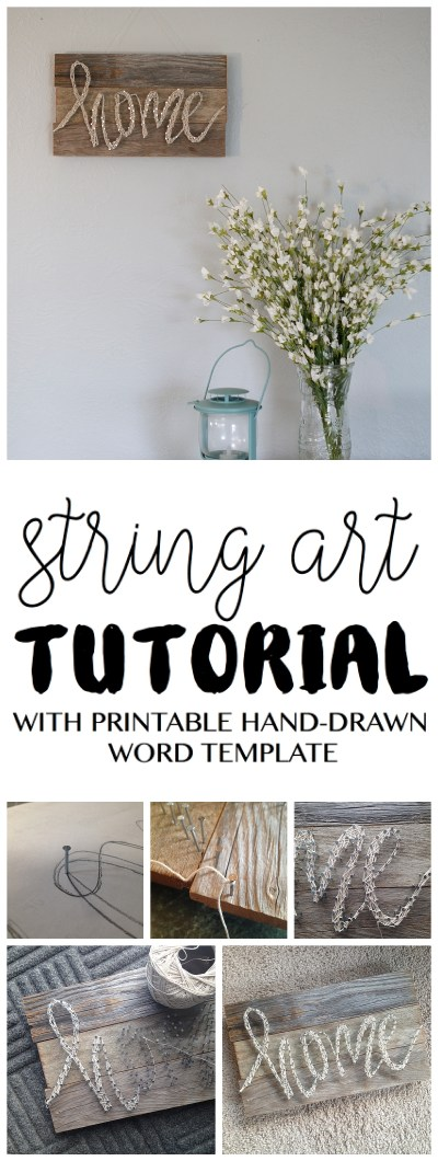 string art tutorial DIY | Home Decor | Pallet Sign | DIY Project | Always wanting to try out a string art project? Here's an easy tutorial from www.sixcleversist... This DIY home decor pallet sign has detailed instructions and includes a free printable word template.