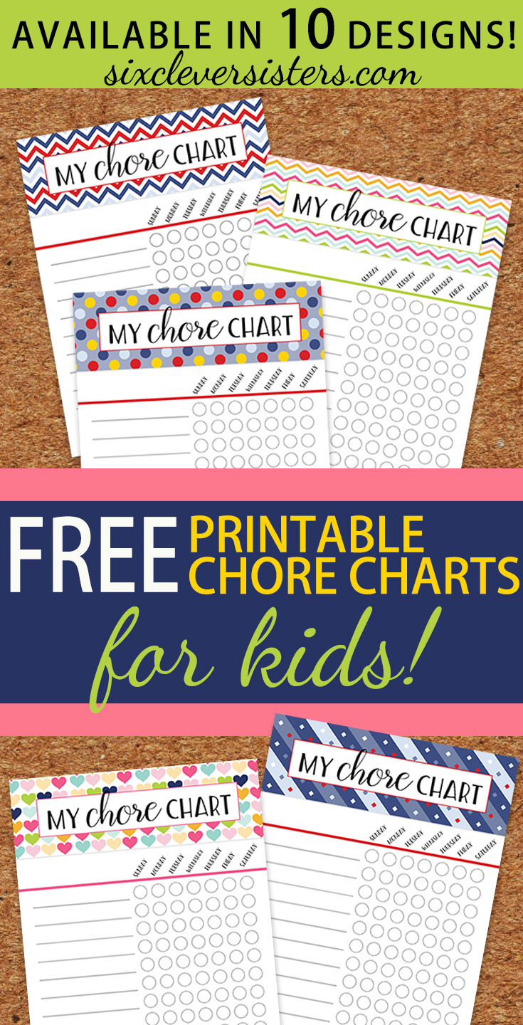 free printable chore charts six clever sisters. Black Bedroom Furniture Sets. Home Design Ideas