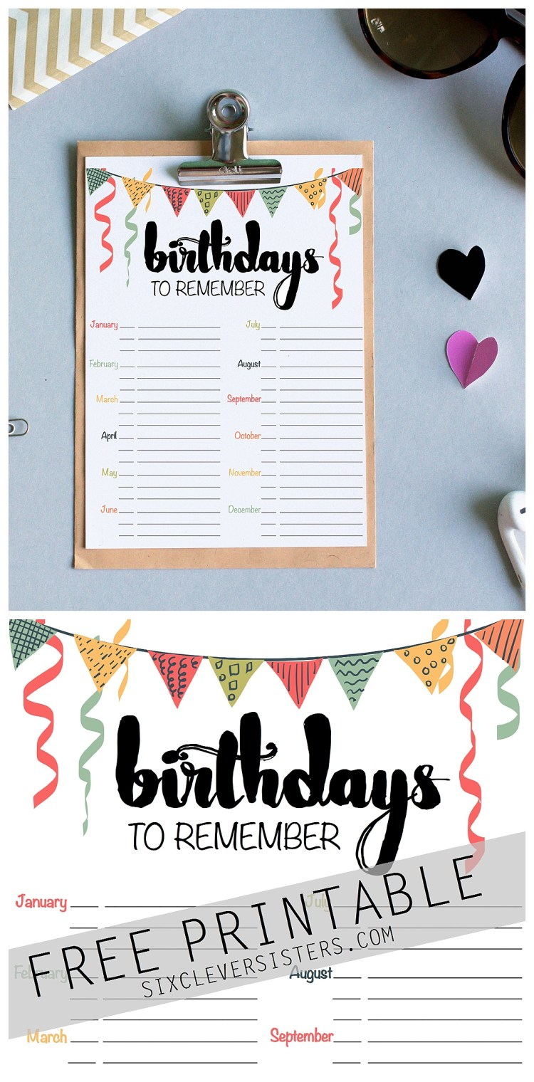 Birthday Reminder Free Printable - Six Clever Sisters
