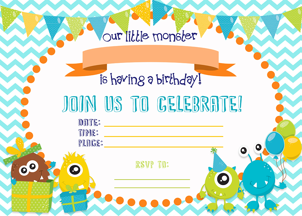 FREE PRINTABLE Monster Birthday Invitations - Six Clever ...