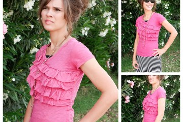 DIY Ruffle Shirt | Free Sewing Pattern | Cute Summer Shirt | Upcycled T Shirt | Shirt Tutorial | Summer Style | DIY Clothes | Six Clever Sisters | This cute summer shirt from Six Clever Sisters has step-by-step instructions and requires minimal sewing experience. Great easy project for a beginner to make a ruffle t shirt!