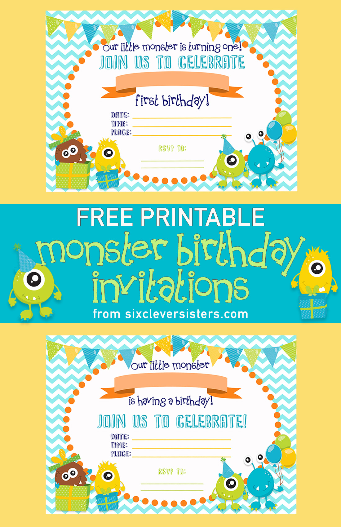 Free printable monster birthday invitations six clever sisters free printable monster birthday invitations little monster birthday printable birthday invitations free printables filmwisefo
