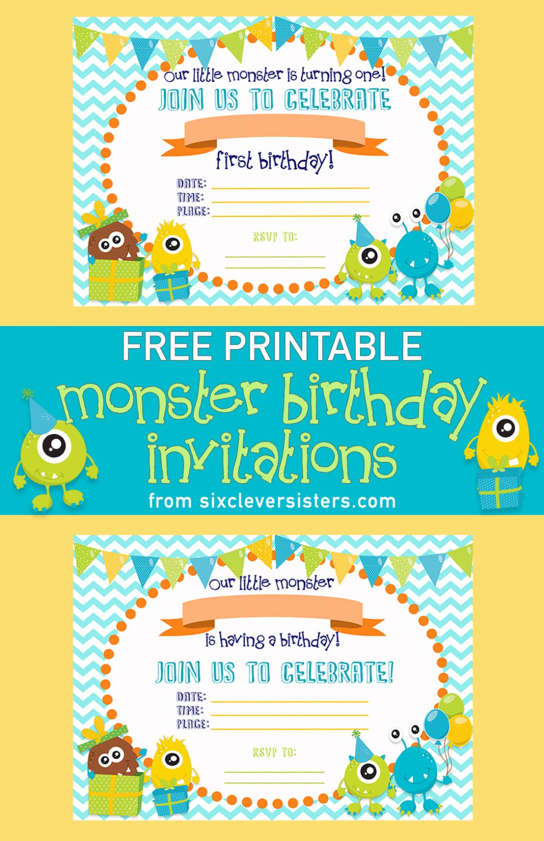 Free Printable Monster Birthday Invitations | Little Monster Birthday | Printable Birthday Invitations | Free Printables | Printable Invitations | Free Printable Birthday Invitations | Monster Birthday Party | Download and print these cute little monster invites for your little monster's birthday party! Available on the Six Clever Sister's blog!