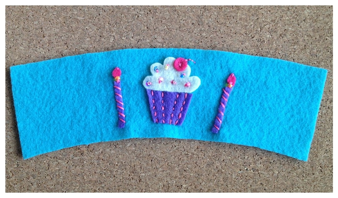 Birthday Gift | Cup Sleeve | Felt Coffee Cozy | Cupcake Candles | Beaded Cup Sleeve | Free Pattern | Felt Pattern | Birthday Idea | Party Ideas | Cute Gift Idea | DIY Gifts | DIY Felt | Six Clever Sisters