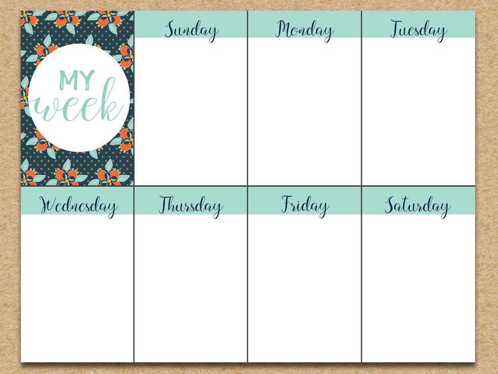 image relating to Weekly Printable identified as Cost-free Weekly Planner Printable - Summer season Floral - 6 Intelligent