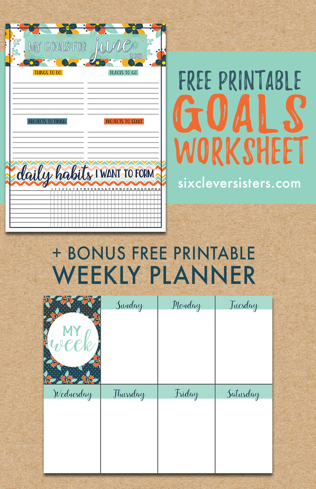 free download goals worksheet printable june 2017 six clever sisters. Black Bedroom Furniture Sets. Home Design Ideas
