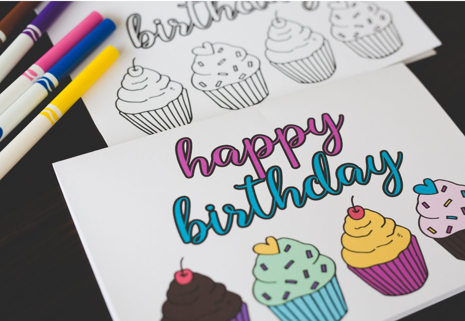Free Printable Birthday Coloring Card 2