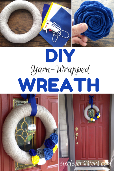 Wreaths | Wreaths For Front Door | Wreath DIY | Yarn Crafts | Yarn Wreath | Home Decor | Front Door Decor | Felt Crafts | Felt Flowers | Yarn Wrapped Wreath | DIY Gifts | Find the tutorial @ Six Clever Sisters for this easy diy decoration.