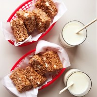 Cocoa Krispie Treats with extra marshmallows