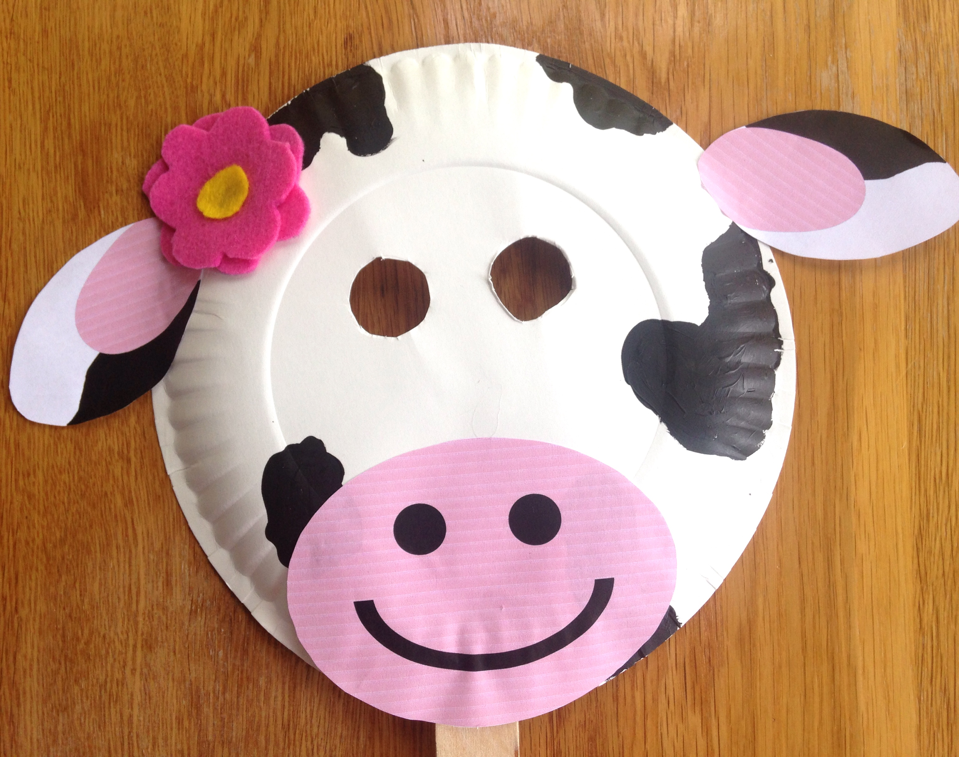 Paper Plate Cow Mask & C Is For Cow Paper Plate Cow Mask