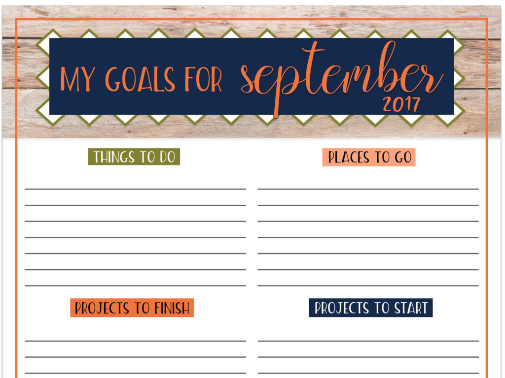 Goals Worksheet Free Printable September