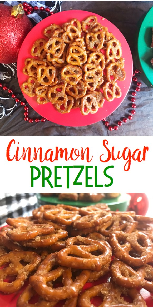 oned Pretzels | Snack Food | Snacks for Party | Pretzel Recipes | Cinnamon | Sweet and Salty Snacks | A yummy sweet and salty snack, recipe on Six Clever Sisters!