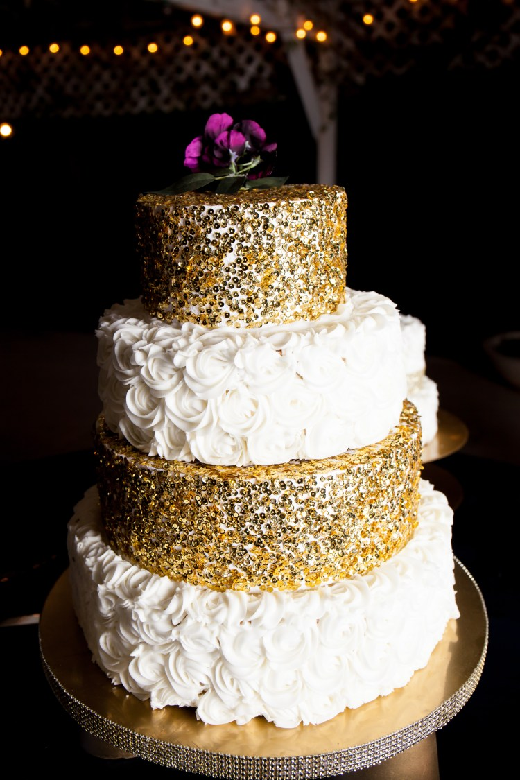DIY Metallic Glitz and Glam Wedding Cake Stand - Six Clever Sisters