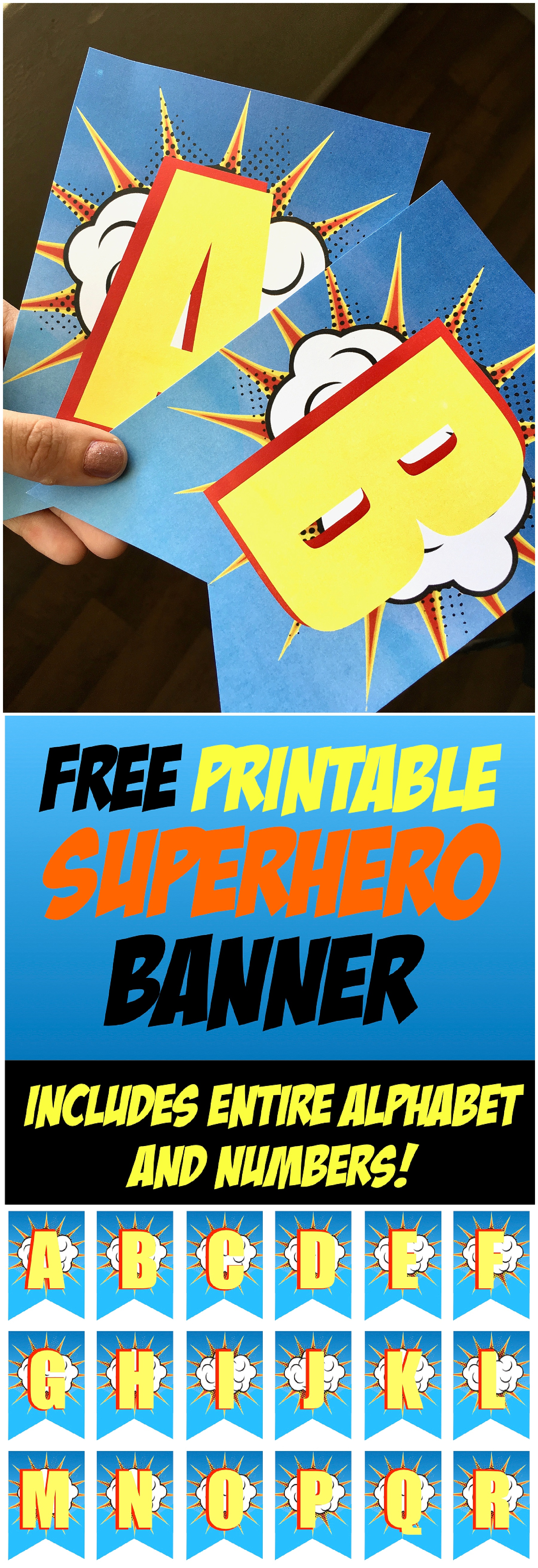 picture relating to Superhero Letters Printable named Superhero Birthday Celebration No cost Printable Banner - Contains