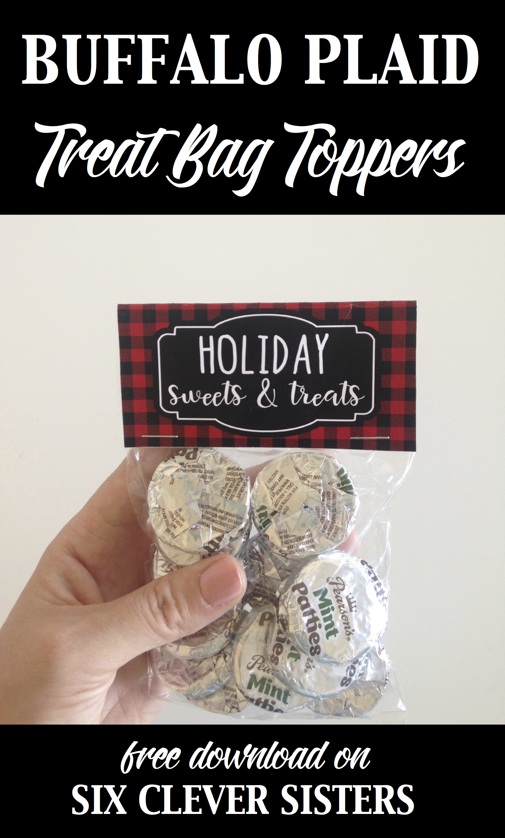 photograph regarding Christmas Bag Toppers Free Printable named Buffalo Plaid Address Bag Toppers 3 Patterns - Absolutely free Printables
