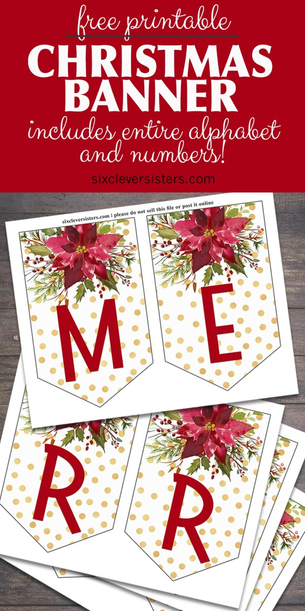 Printable Christmas Banner Letters | Printable Merry Christmas Banner | Printable Merry Christmas Banner | Free Printable Christmas Banner Templates | Printable Christmas Pennant Banner | DIY Printable Christmas Banner | Merry Christmas Printable Banner PDF | Printable Christmas Letters for Banner | Download this Christmas Banner on the Six Clever Sisters blog!