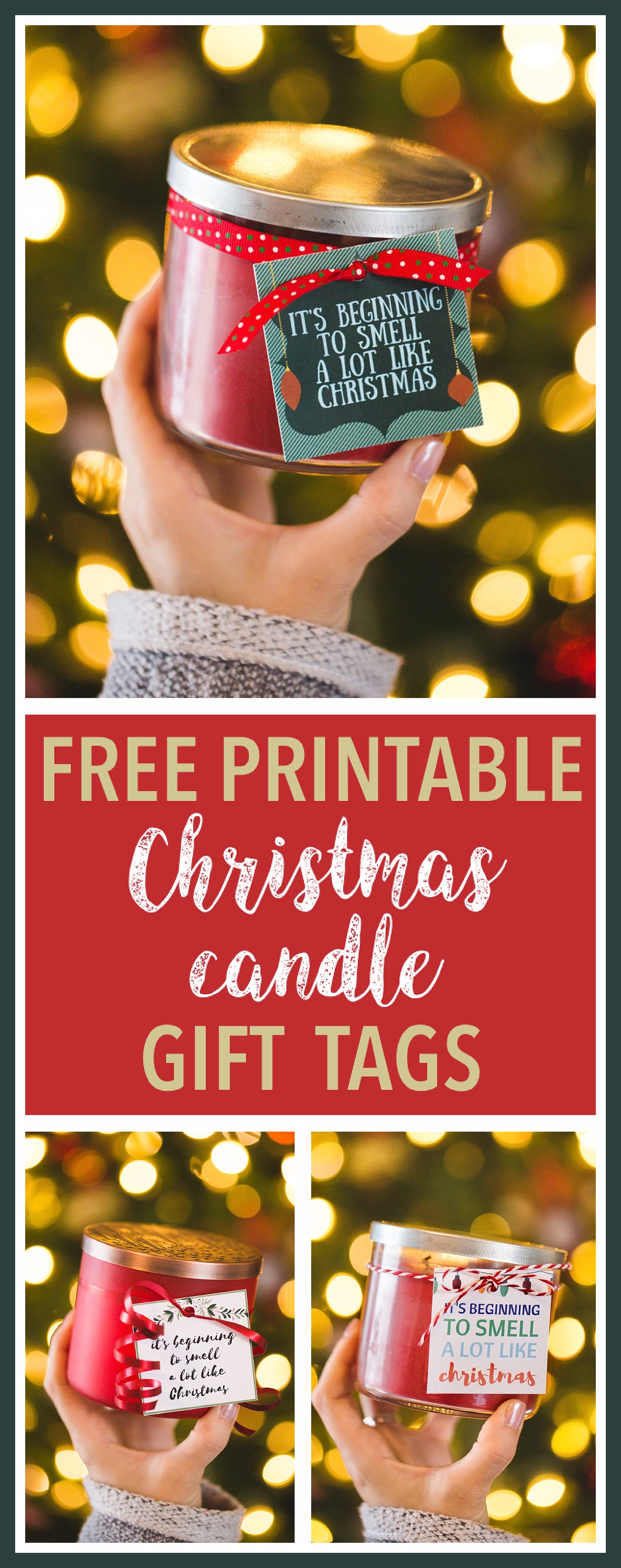 photo relating to Free Printable Christmas Name Tags called Absolutely free Printable Xmas Reward Tags for Candles - 6 Intelligent