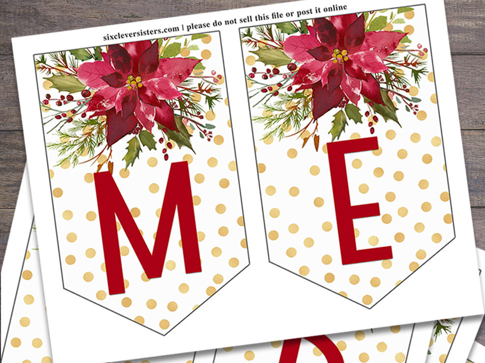 printable christmas banner six clever sisters printable christmas banner six clever