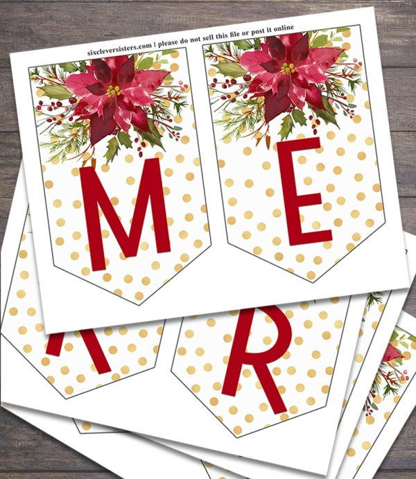 Printable Christmas Banner Six Clever Sisters