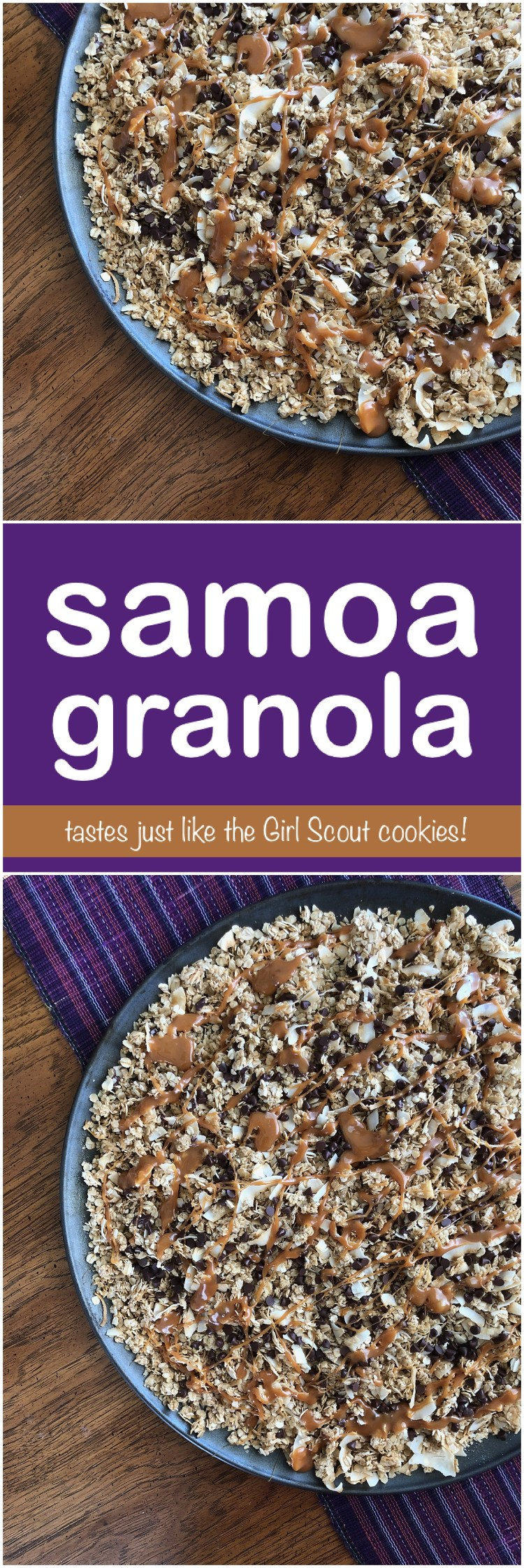 Samoa Granola | Samoa Copycat | Samoa Cookies | Girl Scout Cookies | Easy Recipe | Breakfast | Meal Planning | Breakfast Ideas | After School Snack | Coconut | Caramel | Chocolate | Homemade Granola | Six Clever Sisters