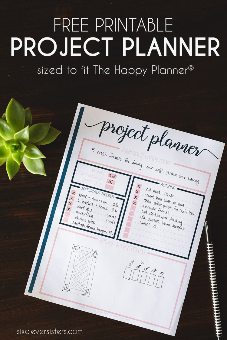 Project Planner Printable | Project Planning Worksheet | DIY Project Planning Worksheet | Project Planner Printable Free | Project Organization Printable | Project Planner | Project Lists | Free PDF on the Six Clever Sisters blog - easy download!