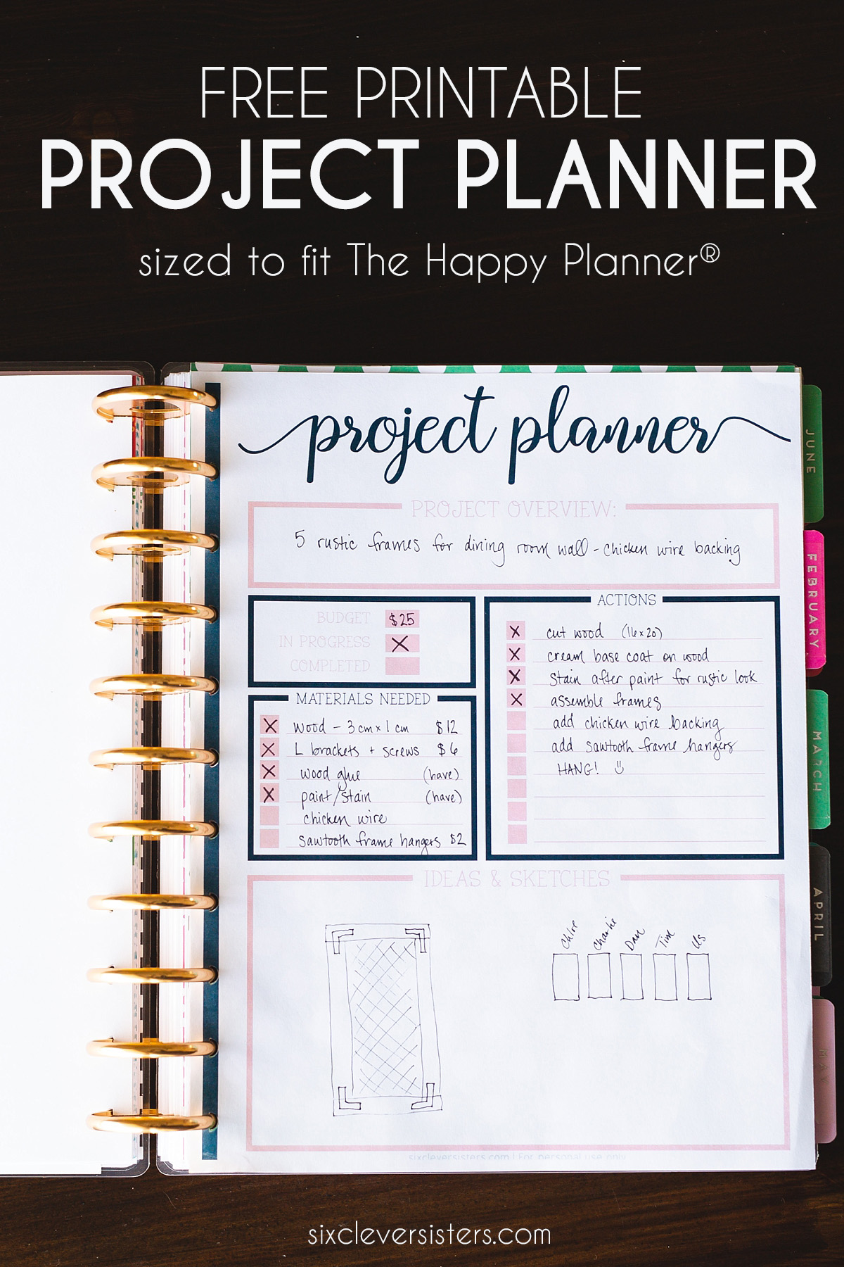 project planner PIN10   Six Clever Sisters