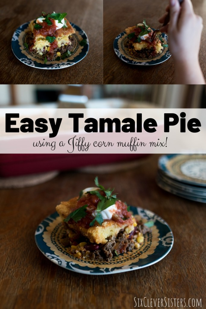 Tamale Pie | Tamale Pie Recipe | Tamale Pie Jiffy | Jiffy Corn Muffin | Mexican Dish | Mexican Casserole | Tamale Casserole | Easy Tamale Pie | This easy tamale pie recipe is made with a Jiffy corn muffin mix and is a great weeknight dinner recipe for your busy family! Recipe at SixCleverSisters.com