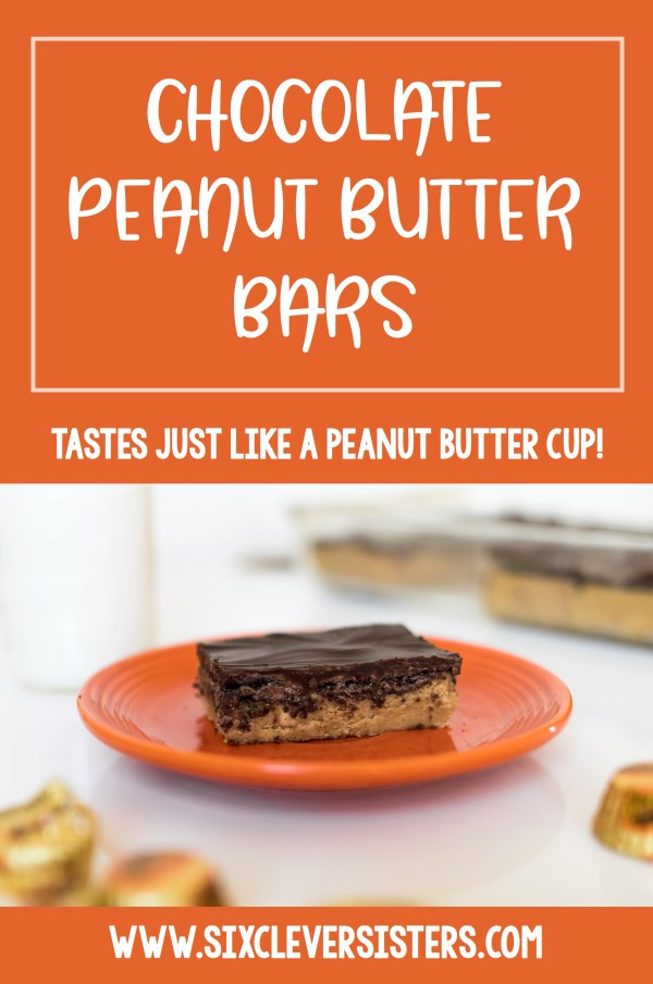 Reese's Bars Recipe   No Bake Dessert Recipe   No Bake Dessert Bars   Reese Cup Bar Recipe   Reese's Dessert Bars Recipe   Reese's Peanut Butter Bars Recipe No Bake   Recipe for Reese's Bars   Reese's Peanut Butter Bars Recipe   Homemade Reese's Bars Recipe   Love a Reese peanut butter cup? You'll love our no-bake, homemade chocolate peanut butter bar recipe that uses just 5 ingredients and can be made in 5 minutes! It tastes just like a Reese peanut butter cup! #pb #peanutbutter #peanutbutterdesserts #recipe #reesesdessert #nobakedesserts #chocolate #sixcleversisters