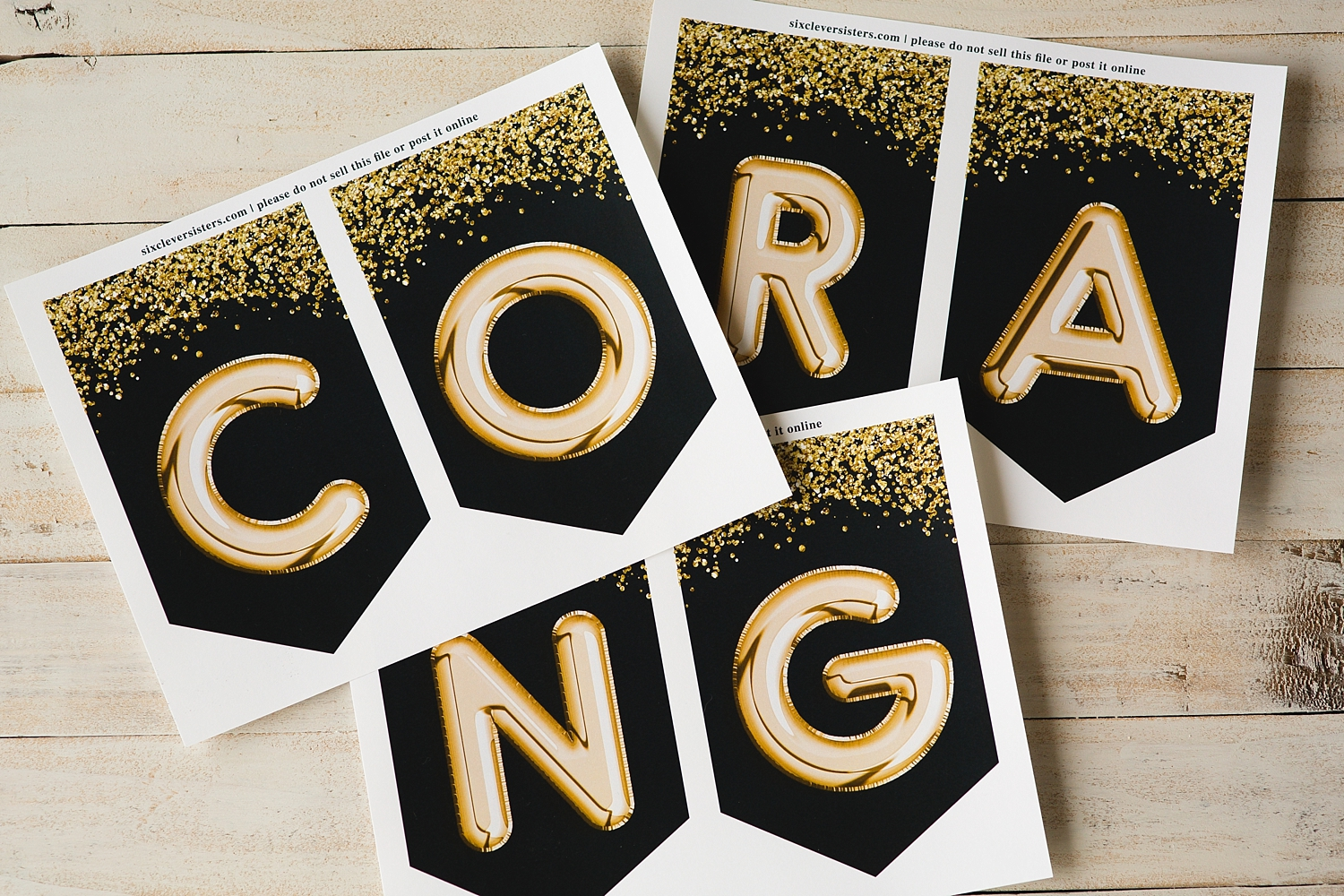 picture about Congratulations Banner Free Printable titled Commencement banner, Black and Gold - Free of charge Printable - 6