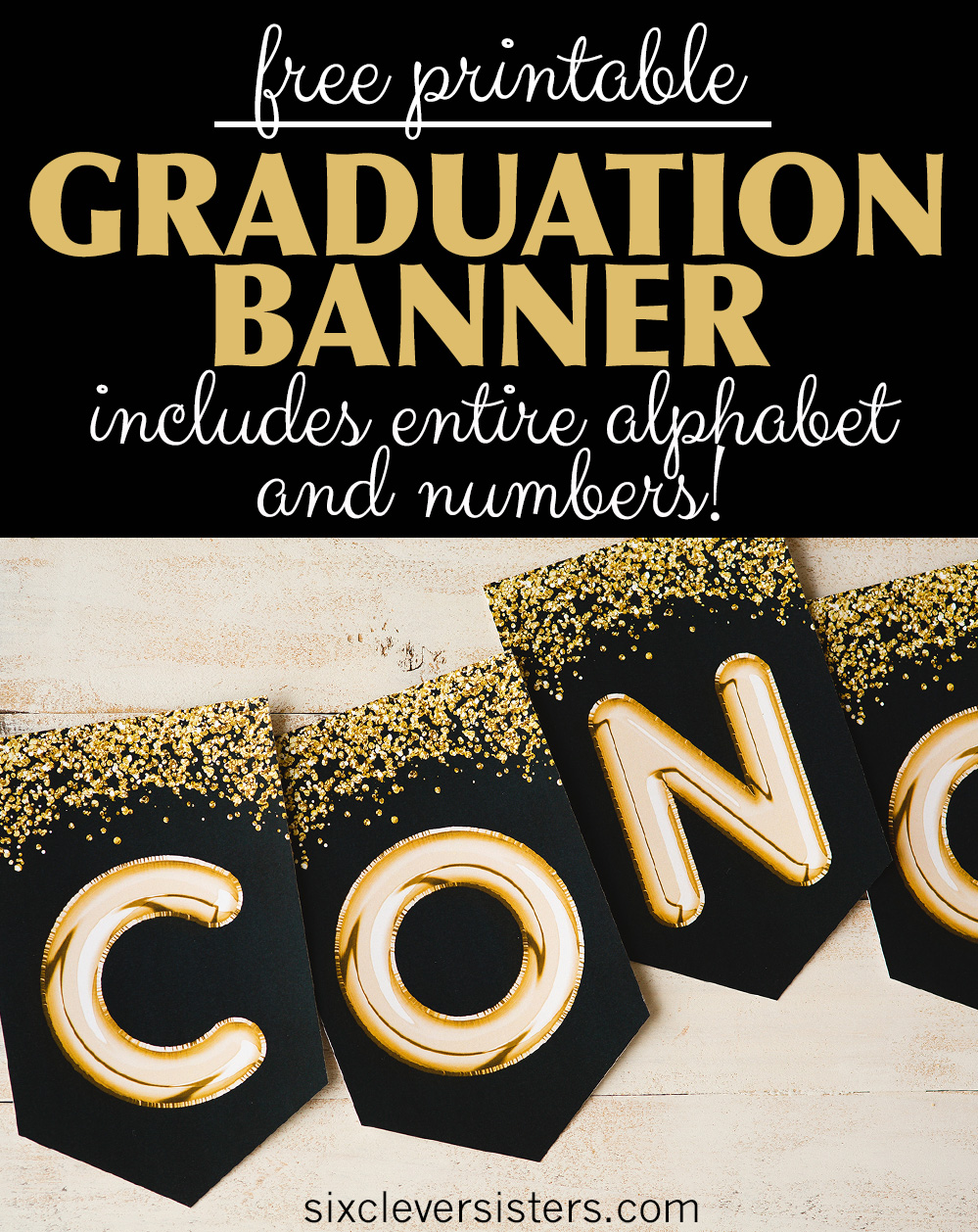 graphic about Printable Graduation Decorations named Commencement banner, Black and Gold - Absolutely free Printable - 6