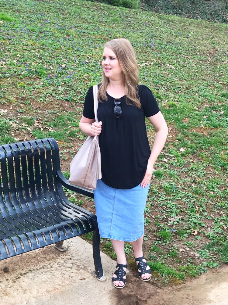 Modest Fashion | Denim Skirt | Modest Skirt | Inheritco | Modest Clothing | Modest Fashion Blogger | Share Inheritco | Summer Fashion | Mom Fashion | Modesty | Light Denim Skirt | Six Clever Sisters